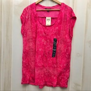 NWT Lucky Brand Pink paisley top 1XL